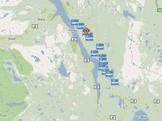 Canoe map around Hovin i Telemark, Norway